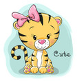 cute cartoon tiger vector image vector image