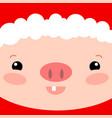 cute pig face square card santa claus piglet vector image vector image