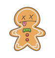 dead christmas holiday ginger bread cookie cartoon vector image vector image
