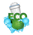 eco water filtration blue drops and green leaf vector image vector image