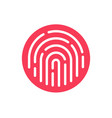 fingerprint security button icon touch vector image