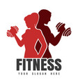 fitness emblem with silhouettes athletic man vector image vector image