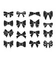 gift bow icons decorative black bows silhouettes vector image