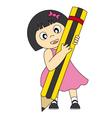 girl pen vector image vector image