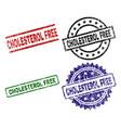 grunge textured cholesterol free stamp seals vector image