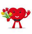 heart holds a bouquet of flowers and waves on a vector image vector image