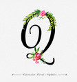 letter q watercolor floral background vector image