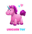 little cute textile unicorn toy icon on vector image