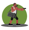 man with gun and a bag of cash vector image vector image
