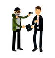 masked thief character stealing briefcase from vector image vector image
