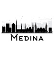Medina City skyline black and white silhouette vector image vector image