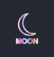 moon neon sign black background vector image vector image