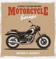 motorcycle vintage poster with headline text vector image vector image