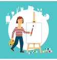 painter draws vector image vector image