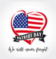 patriot day usa heart emblem colored vector image vector image