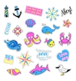 Pop art set with fashion patch badges Sea vector image