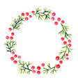 printpine leaves and red berry wreath watercolor vector image vector image