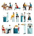Restaurant Visitors Flat Icons Set vector image vector image