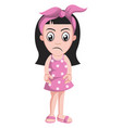 sad girl with pink ribbon on white background vector image vector image