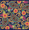 seamless paisley backgroundcolorful flowers and vector image vector image