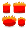 Set of Burning Paper Red Stickers vector image vector image