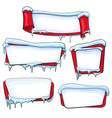set of christmas winter banners with ice and snow vector image