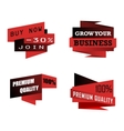 Set of origami business icons or labels vector image vector image