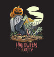skull zombie halloween vector image