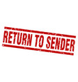 square grunge red return to sender stamp vector image vector image