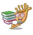 student with book sea shell mascot cartoon vector image