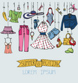 summer fashion setwoman colored wear hanging vector image