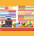 supermarket interior cashier counter workplace vector image vector image