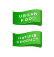 tags vegan food organic product labels vector image vector image