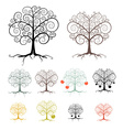 Trees Set Isolated on White Background - Abstract vector image vector image