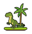 trex dinosaur on forest cartoon vector image vector image