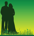 wedding couple silhouette in green color vector image vector image