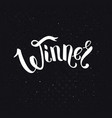 winner text in ribbon style font over black vector image vector image