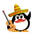 penguin with a guitar and a sombrero cartoon vector image