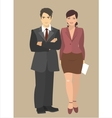 Young businessman and business woman standing next vector image