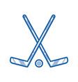 crossed hockey sticks outline icon vector image