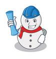 architect snowman character cartoon style vector image