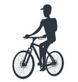 athlete on bicycle black silhouette isolated white vector image