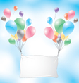 Balloons with white sign on a blue sky background vector image vector image