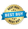 best buy 3d gold badge with blue ribbon vector image vector image