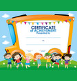 certificate template with children and school bus vector image vector image