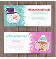 Cute Christmas characters greeting cards vector image vector image