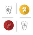 dental crown with down arrow icon vector image vector image