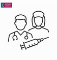 doctor and nurse line icon on white background vector image vector image