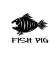 fish and pig negative space concept vector image vector image
