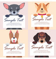 four purebred dogs holds white cards for text vector image vector image